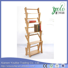 5 Tiers High Quality Bamboo Corner Display Shelf with book case organizer