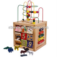 original wood material wooden smart activity cube toy