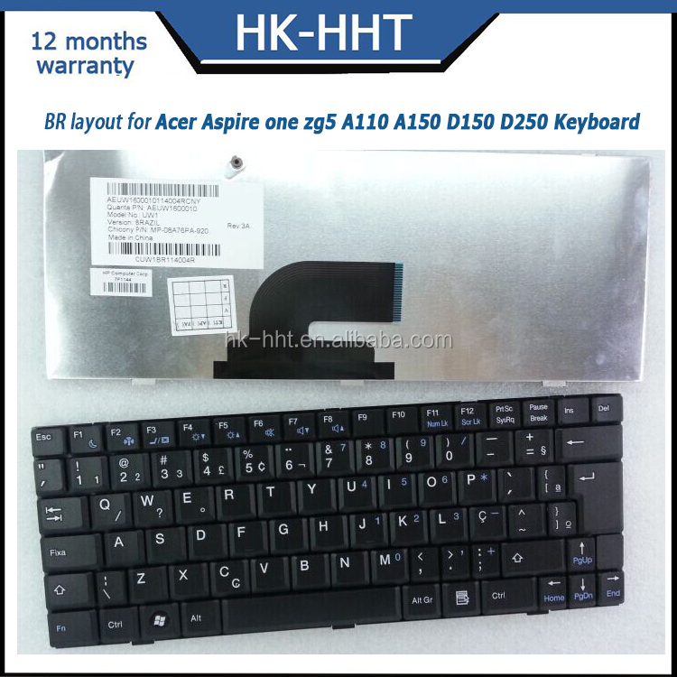Teclado laptop internal keyboard for Acer AS one ZG5 A110 A150 D150 D250
