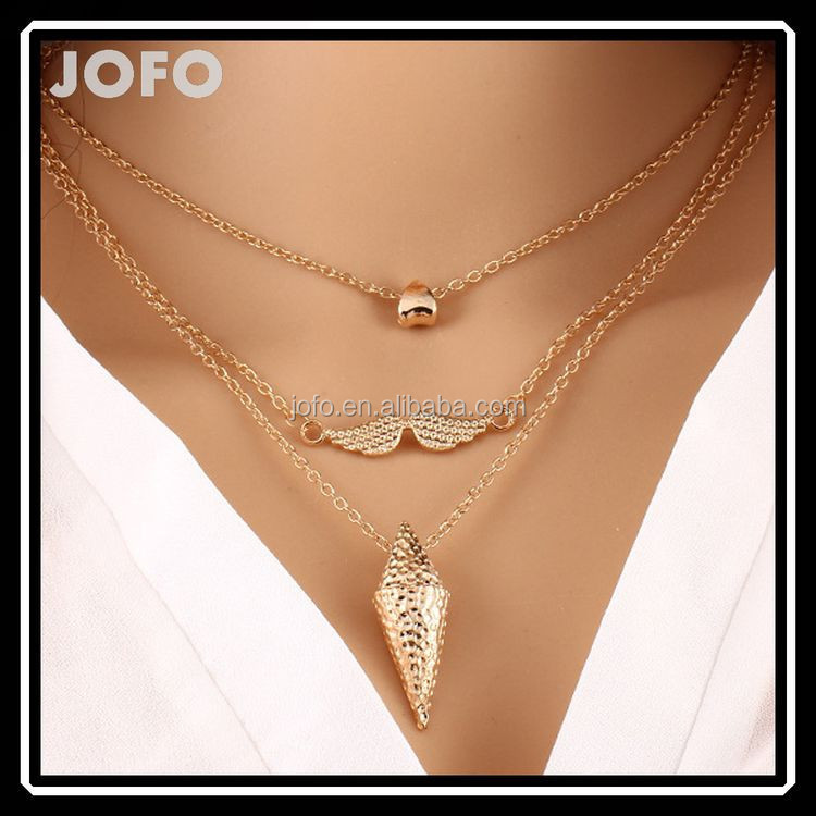 Latest Popular Gold Plated Three Lovely Mustach Chain Necklace For Lady and Girl