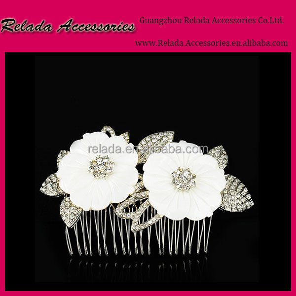 Wedding hair jewellry accessories fabric lace flower crystal Rhinestone hair comb for bridal accessories