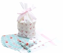 Wax Candy Wrappers Pink Heart Print Drawstring Plastic treat Bags