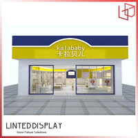 display cases/clothing fixture/lovely children garment shop fixture retail store display fitting wood clothes shelving showcase