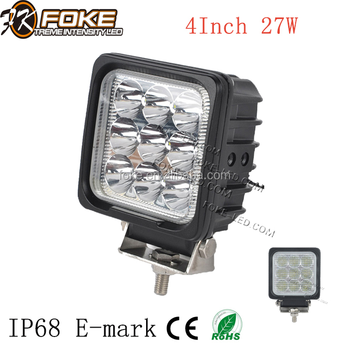 4 inch led work light 27W led headlight approved IP68 E-mark for auto off road truck