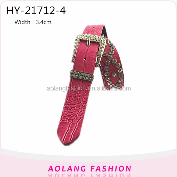 Fashion PU red rhinestone high Lady decorative mirror leather belts