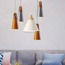 Italian Pyramid Design Modern Lighting Fixture Hand-polished in Aluminum and Oak Wood Pendant Light