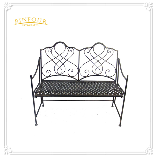 high quality curved metal garden bench