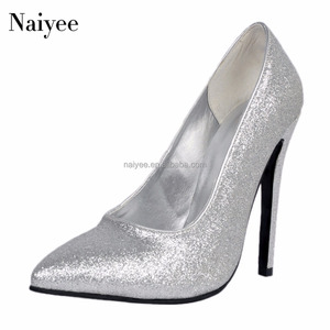 New design sliver party wear high heel pointed toe women dress shoes