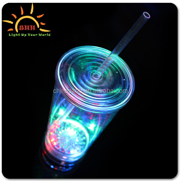 2016 new products wedding decoration party supplies plastic led straw cup light up color change drinking glass china wholesale