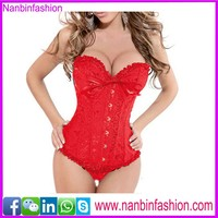 New arrival overbust bowknot red open hot sexy corset xxl movie