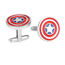 Fashion metal captain America silver cuff links for wholesale