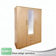 wood clothes closet cupboard furniture 3 door wardrobe with mirror