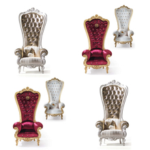 French Noble Fabric High Back Leisure Chair, Fancy Wedding Chair, Luxury Royal Resin Gold Plated Cheap King Throne Chair