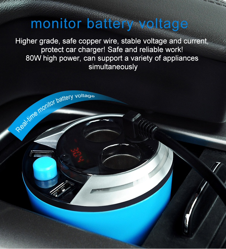 GXYKIT Cup Holder Dual USB In Car Charger ZNB01