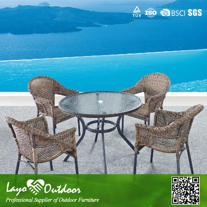 Approval Overseas Factory audit popular high-end patio furniture bar tables and chairs rattan garden furniture outdoor