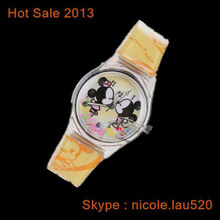 Mickey mouse design watch with yellow leather watch band