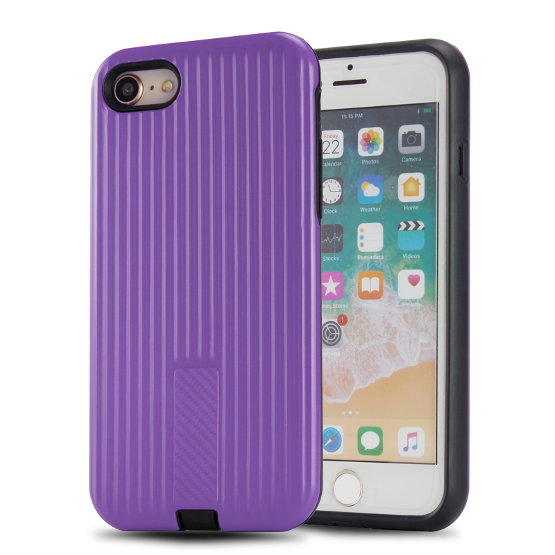 Stripe texture 2 in 1 pc tpu rugged shockproof pc tpu mobile covers for iphone 8 case,for iphone8 case