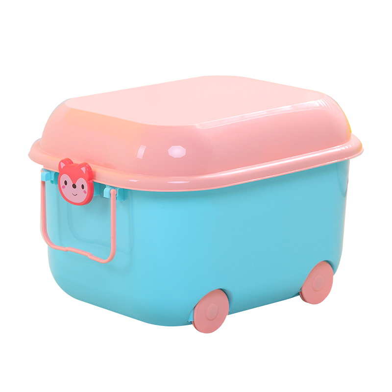 Household Sundries Collection Organizer with wheels Cartoon Cute Stackable Kids Children Toys Plastic Bins Storage Box Container