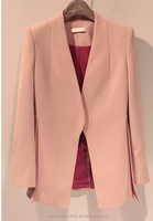 Ol Lady New Fund 2014 Autumn Outfit Pure Color Commuter Hidden-Interlocking Coat Sleeve A Grain Of Small Suit Femal