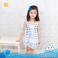 Hot sale wholesale cotton summer baby clothes white casual polka dot knitting pattern boutique girl latest fashion dresses