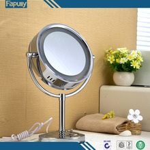 Fapully 8 Inch Led Cosmetic Mirror with Light Plug Makeup Mirror with Light Table Stand Mirror