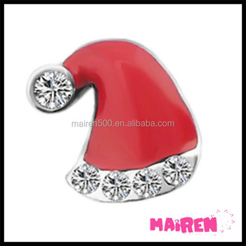 enamel red Santa hat with crystals Christmas floating charms
