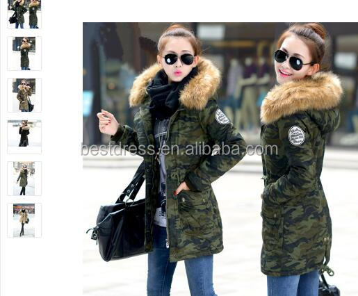 2016 fashion new design Winter Women casual camouflage Long Down Jacket Padded Coat