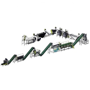 Automatic plastic recycling and cleaning production line