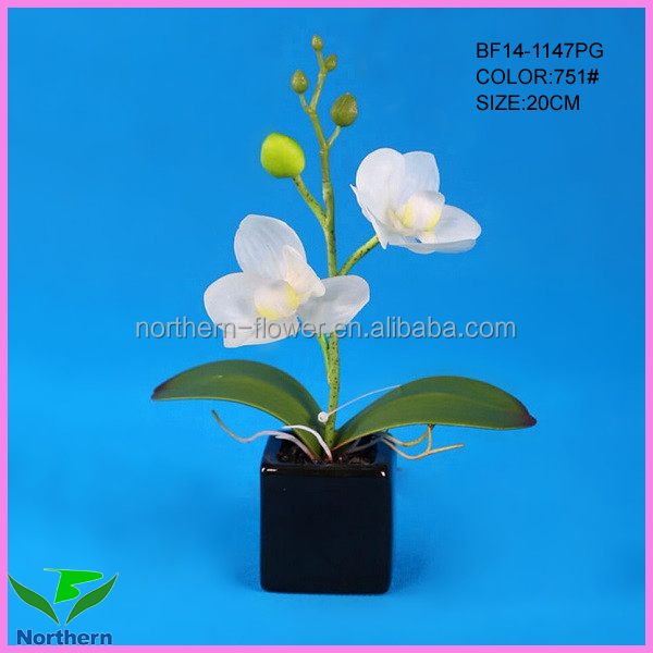 wholesale mini potted artificial orchid flowers for decoration