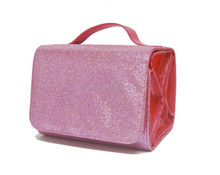 Fashion bling glitter roll n go cosmetic bag