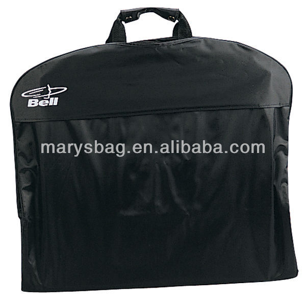 Nylon suit bag with main zippered compartment with flap at top with hole for hanger hook