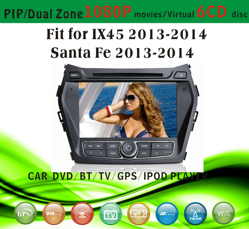 android car dvd player fit for Hyundai IX45 Santa Fe 2013 - 2014 with radio bluetooth gps tv pip dual zone