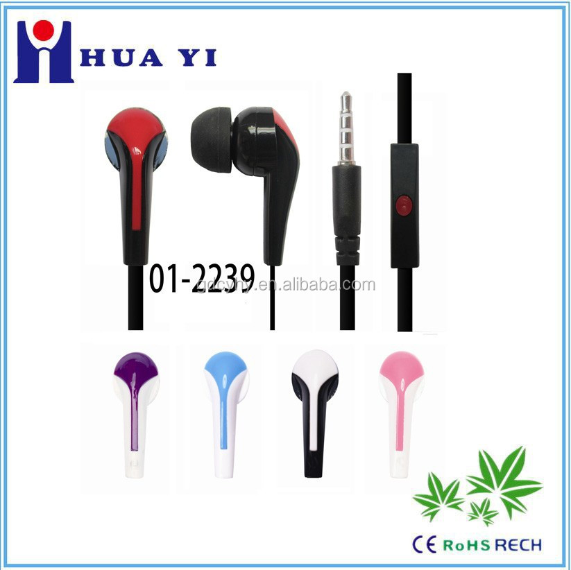 hot sell 3.5mm in-ear earphone handfree earbud headphone for music factory cheap price with mic for mobile MP3,MP4 player
