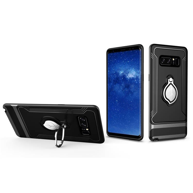 Newest Arrival ring holder kickstand tpu pc case for galaxy note 8 + for samsung note 8 phone case