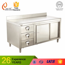 SUS commercial industrial kitchen worktable bench wok table handmade with drawers for pantry made in China