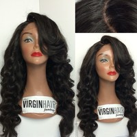 Excellent quality virgin human hair burgundy lace front wig for black woman