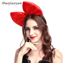 Hot Sale Fashion Fabric Bowknot Headband Colorful Women Hair Accessories Super Bowknot Hairband For Party