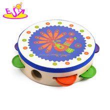 Wholesale cheap kids wooden tambourine instruments for sale W07F031