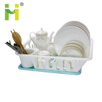 pp wholesale household kitchen using sink antimicrobial plastic dish rack drainer with tray for cutlery plate