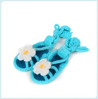 Beautiful Blue Baby Barefoot Sandals Pure Handmade Knit Shoes