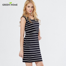 Hot 2017 Stripe breast feeding clothing dress comfortable cotton maternity nursing clothing dress for pregnant woman SB020