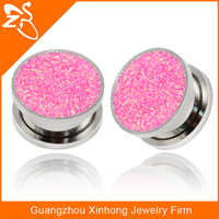 new style stainless steel ear flesh tunnels, wholesale body jewelry factory, fashion shiny ear gauges