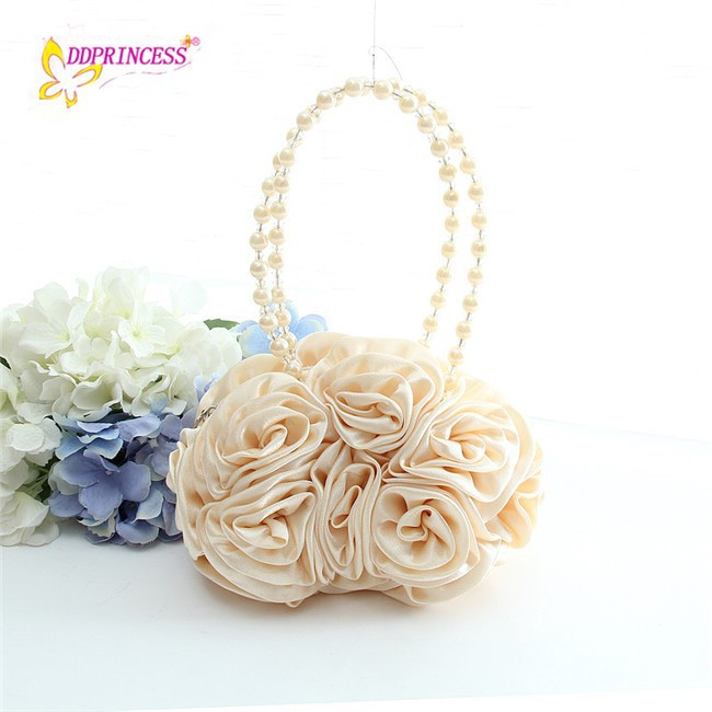 Fashion Flower Rose girls handbags bueaty Bead colorful kid shoulder bag