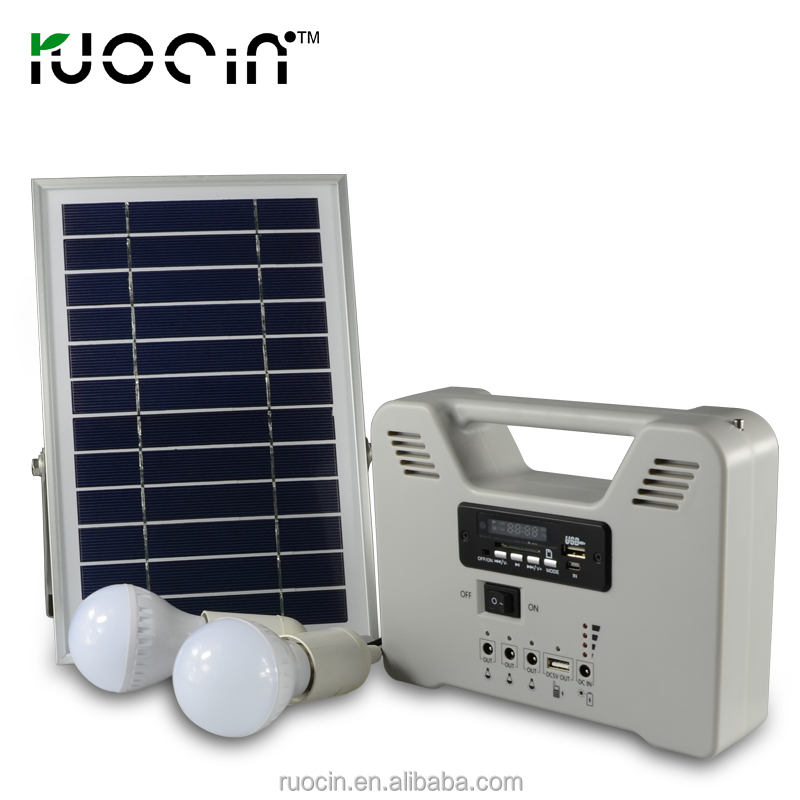 energy saving low cost solar emergency light solar home lighting system with radio function FM band player function MP3 6W 15W