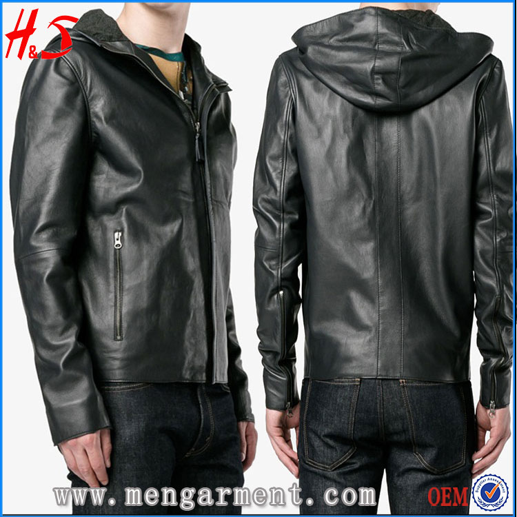 Online Shopping Most Demand Jackets In Pakistan Fashion Design Black Hooded Leather Jacket For Men
