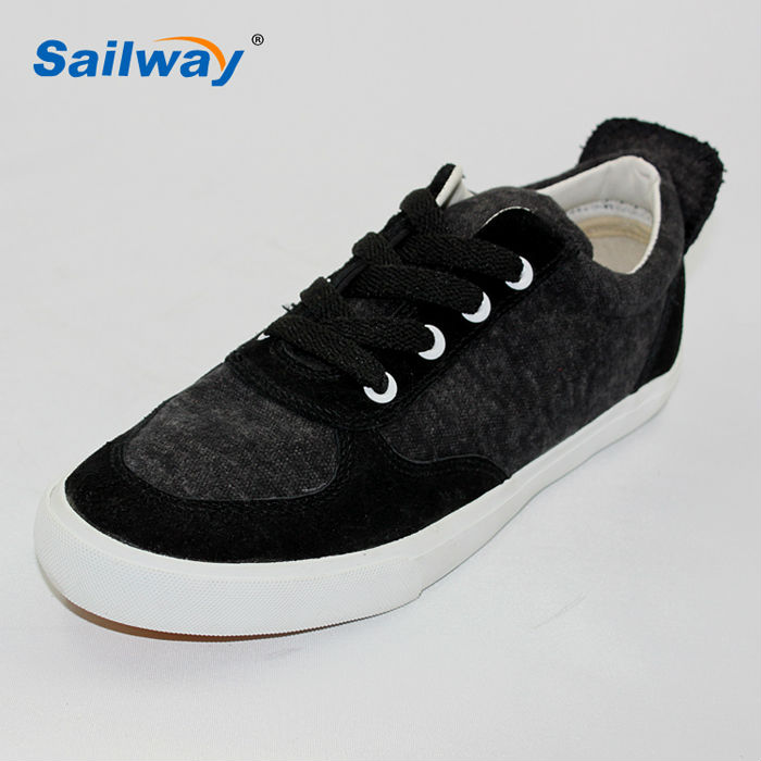 fashion ladies casual shoes black fabric with suede patch brogue style