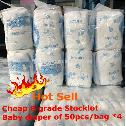China B Grade Baby Diaper Wholesale Cheap Cotton Type Breathable Cloth like Magic Tapes with 50pcs x 4 Packing