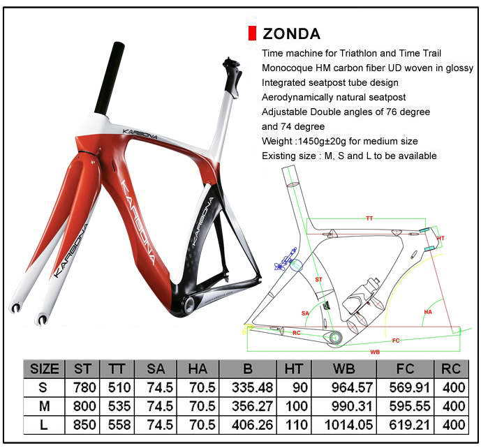 Karbona carbon frame with aerodynamic design