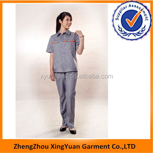 Mechanical Workshop Summer Working Uniform ,short sleeve,breathable,anti-bacterial,anti-static,easy care,workwear