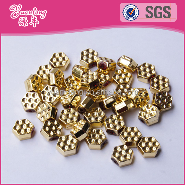 Wholesale western style hexagon shape plastic golden colour chunky beads